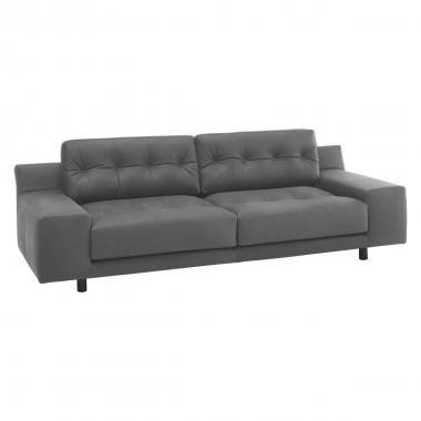 Серый кожаный диван